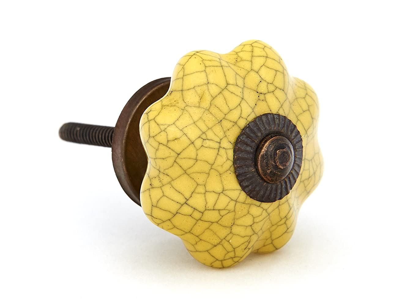 Yellow Crackle Melon Drawer Knob, Cabinet Pull, Furniture Knob - Set of 12