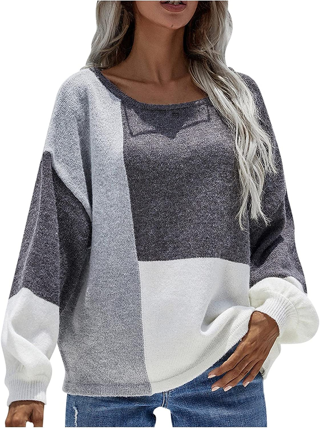 BEUU Women's Color Block Patchwork Pullover Sweater Casual Long Sleeve Crew Neck Loose Knitted Pullovers Jumper Tops