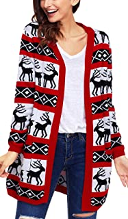cb7ea42fea90a Charmley Femme Gilet Noël Pull Imprimé Tricotés à La Mode Manteau Chandail  Grande Taille Cardigan Tops