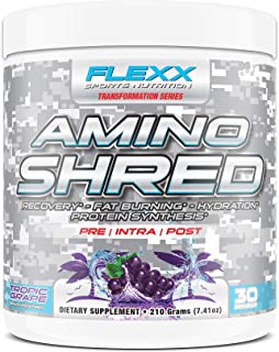 Amino Shred 30 Servings IntraWorkout Recovery Fat Burning Protein Synthesis, Tropic Grape Flavor