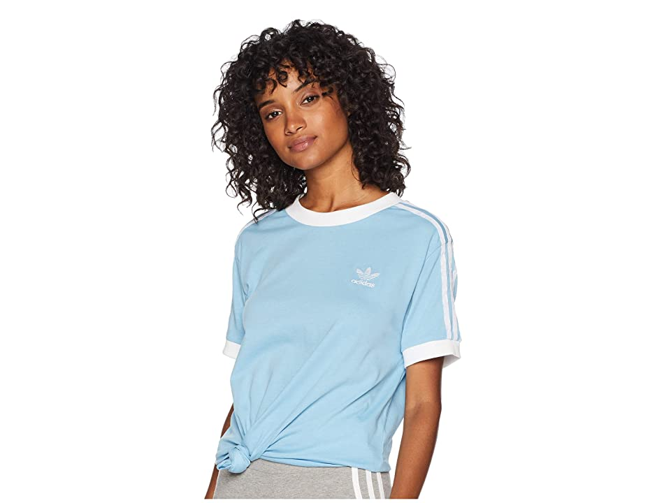 adidas Originals 3 Stripes Tee (Clear Blue) Women's T Shirt