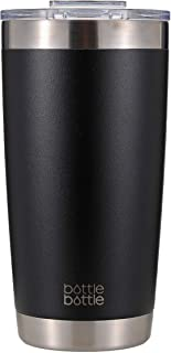 タンブラー 600ml 真空 断熱 ステンレス 穴あるフタ付き ボトル コーヒー ビルー 学生 女性 男性 ブラック bottlebottle