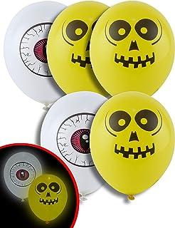 Generique - 5 Ballons Oeil et Crâne LED 21 cm Halloween