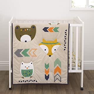 Little Love by NoJo Aztec - Navy, Teal & Orange Bear, Fox & Owl 3Piece Mini Crib Set with Comforter, 2 Fitted Mini Crib Sheets, Navy, Teal, Orange, Cream