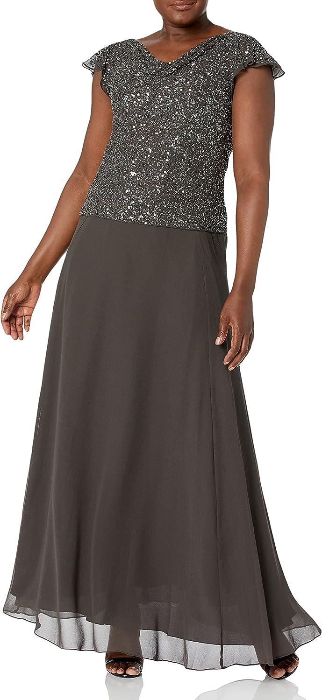 J Kara Women's Long Easy-to-use Beaded Cowl Gown Spring new work Dress Flutter Sleeve Neck