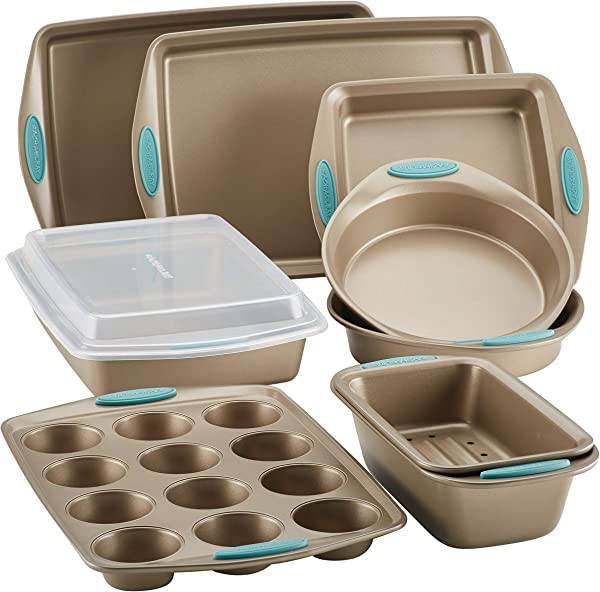 Rachael Ray Cucina Nonstick Bakeware Set 10 Piece Latte Brown With Agave Blue Handle Grips