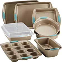 Rachael Ray 47578 Cucina Nonstick Bakeware Set with Grips Includes Nonstick Bread Pan, Baking Sheet, Cookie Sheet, Baking ...
