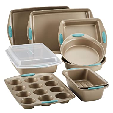Rachael Ray 47578 Cucina Nonstick Bakeware Set with Grips includes Nonstick Bread Pan, Baking Sheet, Cookie Sheet, Baking Pans, Cake Pan and Muffin Pan - 10 Piece, Latte Brown with Agave Blue Grips