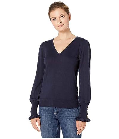 LAUREN Ralph Lauren Buttoned Cuff Long Sleeve Sweater (Lauren Navy) Women