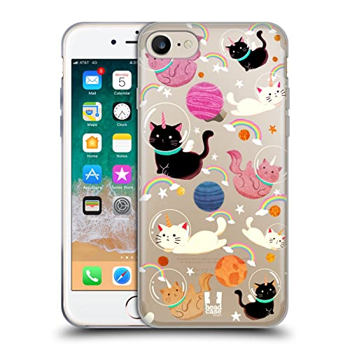 Head Case Designs Cat Space Unicorns Soft Gel Case Compatible for iPhone 7 / iPhone 8