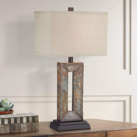Tahoe Small Rustic Traditional Style Table Lamp Natural Stale Rectangular Box Shade For Living Room Bedroom House Bedside Nightstand Home Office Entryway Reading Family Decor Franklin Iron Works Amazon Com