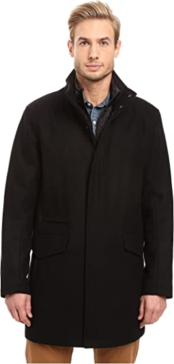 Stanford Pressed Wool Car Coat with Removable Quilted Bib