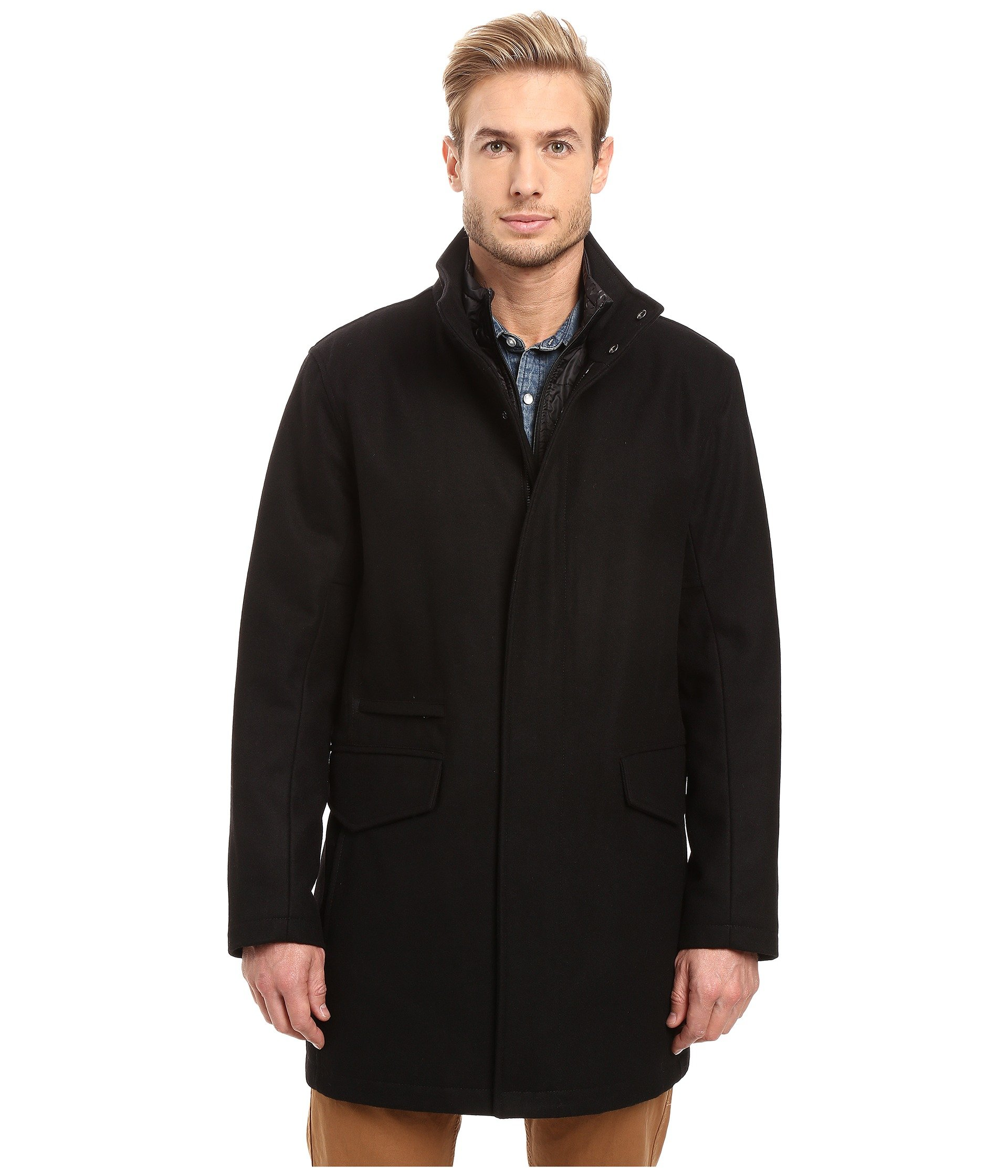 Marc New York Wools Stanford Pressed Wool Car Coat with Removable Quilted Bib, BLACK
