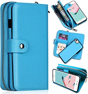 iPhone 8 Case,iPhone 7 Wallet Cases, [Large Capacity][Magnetic Detachable] CASEOWL 2 in 1 Zipper Pocket Leather Wallet Case with Wrist Strap, Kickstand, Cards Holder for iPhone 7/iPhone 8-Blue