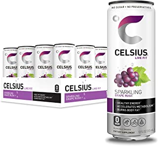 CELSIUS Sparkling Grape Rush Fitness Drink, Zero Sugar, 12oz. Slim Can (Pack of 12)