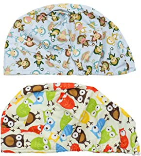 Buorsa Set of 2 Doctor Scrub Cap,Adjustable Bouffant Flower Print Hat for Women Ponytail