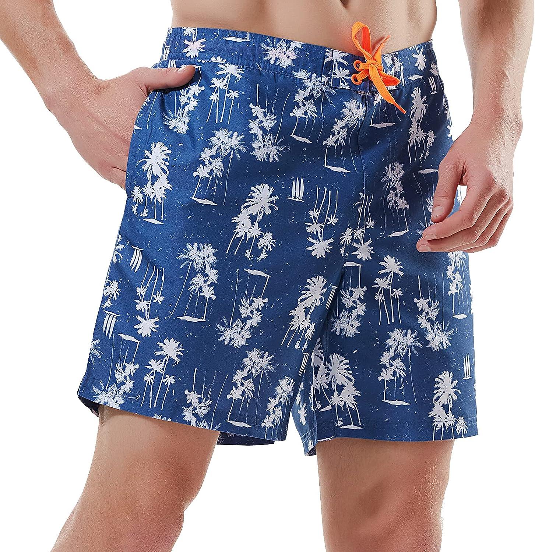 Tavadge Men's Swim Trunks Quick Dry Running Beach Shorts with Mesh Lining