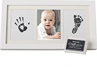 Bubzi Co Set de Marco de Fotos y Huellas de Bebé en Tinta – Recuerdo memorable – No tóxico – Ideal regalos para bebes - Marco de madera y cristal acrílico – Ideal decoración o regalo de baby shower