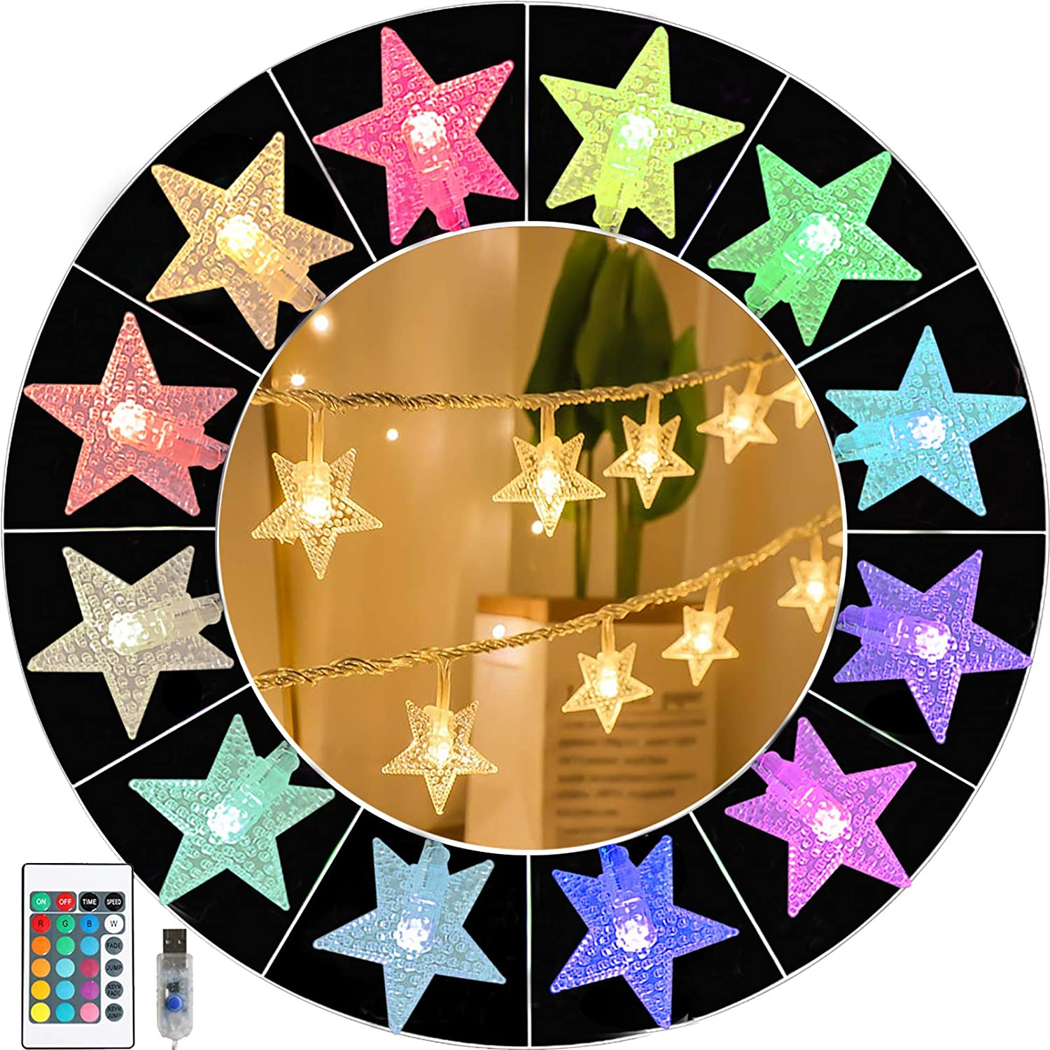 50Leds Colorful Star Fairy Lights, Remote 16 Colors Changing Indoor Outdoor Decorative String Lights for Wedding, Christmas, Birthday, Mother Day,Party Décor