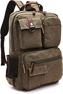 Canvas Backpack, Aidonger Vintage Canvas School Backpack Hiking Travel Rucksack Fits 14'' Laptop (Army Green-48)