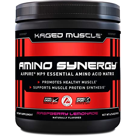 Kaged Muscle Amino Synergy Vegan EAA Powder Essential Amino Acid Supplement with Coconut Water Essential Aminos, EAA's, Raspberry Lemonade, 30 Servings, 7 Ounce