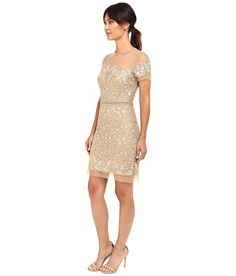 Dress Illusion Sleeve Nicole Miller Embroidered Short Tulle Party 8q8O7w0x