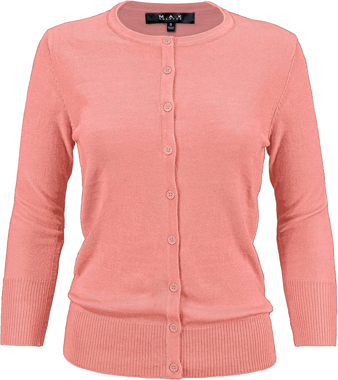 YEMAK Women's Knit Cardigan Sweater – 3/4 Sleeve Crewneck Basic Classic Casual Button Down Soft Lightweight Top (S-3XL)