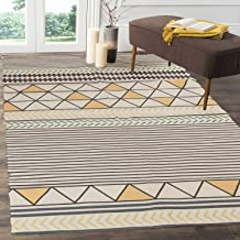 HEBE Large Cotton Rug 4'x6' Washable Modern Handmade Flat Woven Cotton Area Rugs for Living Room,Kids Room,Bedroom