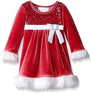 Baby Girls' Sparkle Stretch Velvet Sequin Bodice Santa Dress