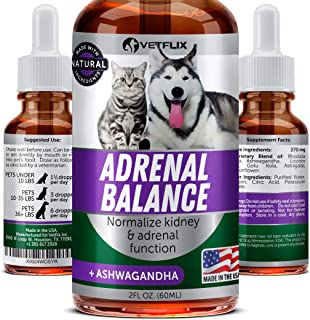 VETFLIX Cushings Treatment for Pets - Made in USA - Adrenal Support for Dogs & Cats - Pet Supplement with Ashwagandha - Dog Kidney & Adrenal Gland Balance - Cat & Dog Supplement for Kidney Support