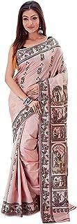 SareesofBengal Women's Katan Silk Meenakari Baluchari/Swarnachari Saree Light Peach