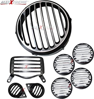 AllExtreme EXSHHG8 Heavy Duty Metal Front Rear Head Light Grill Cover Set with Tail Lamp, Indicator, Pivot Eyes Cup Compatible for BS3 BS4 Model Royal Enfield Bullet Standard 350cc & 500cc