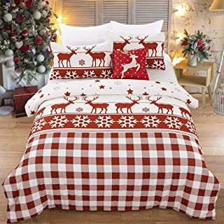 Christmas Duvet Cover Set Queen Reindeers Snowflake Design Decro Bedding (3PC) White and Red Grid Duvet Cover with 2 Pillowcase for Child Daughters Partner 90