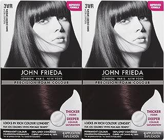 John Frieda Precision Foam Hair Colour, Deep Cherry Brown 3VR, 2 pk