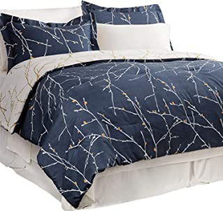 Bedsure Bed In A Bag 8 Piece Deep Pocket with Bed Skirt, Pattern Comforter Set Tree Branch for Women- Navy/Ivory (1 Comforter, 2 Pillow Shams, 1 Flat Sheet, 1 Fitted Sheet, 1 Bed Skirt, 2 Pillowcases)