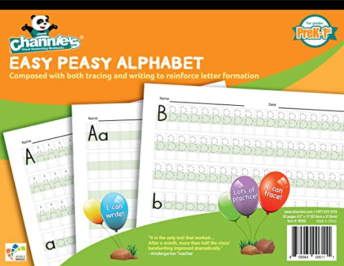 Channie's W302 EASY PEASY ALPHABET HANDWRITING WORKBOOK COMBINE BOTH TRACING & WRITING. LOTS PRACTICES! MOST VISUAL &...