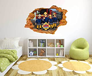 Fireman Sam Comic - 3D Smashed Wall Effect - Wall Decal for Home Nursery Decoratio (Wide 30