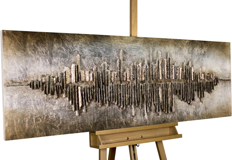 KunstLoft Extravagantes Holz Wandbild 'Frequency 1000' 150x50x7,5cm  Handgefertigte XXL Wandskulptur  Bild auf Holz Unikat  Abstrakt Deko Braun Beige  Holzbild modern
