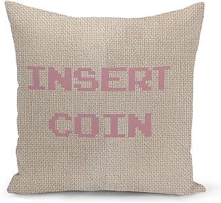 Gamer Insert Coin Beige Linen Pillow with Rose Gold Glitter Foil Print Gaming Boy Gift Couch Pillows