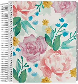 Erin Condren 12 - Month 2020 Coiled Life Planner 7x9 (January - December 2020) - Watercolor Blooms, Horizontal(Neutral Layout)