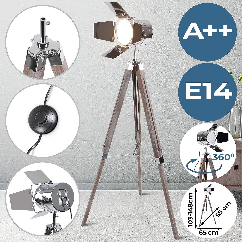 Stehlampe mit Stativ aus Holz  EEK  A++, E14, Hhenverstellbar max. 148 cm, Vintage, Retro  Tripod lampe, Dreifuss Stehleuchte, Standleuchte, Studiolampe  für Wohnzimmer, Schlafzimmer, Büro