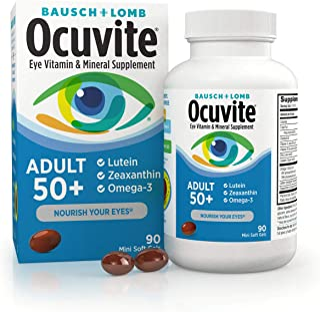 Ocuvite Eye Vitamin & Mineral Supplement, Contains Zinc, Vitamins C, E, Omega 3, Lutein, &...
