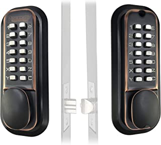 Mechanical Keyless Combination Latch Door Lock with Double Keypads (Oil Rubbed Bronze)