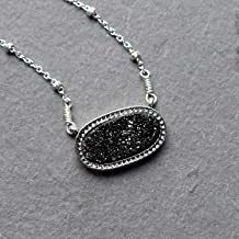 Oval Black Druzy Pendant Sterling Silver Necklace Jewelry Gift for Women
