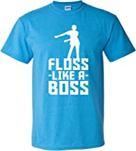 Floss Like A Boss - Flossin Dance Funny Emote T Shirt - Small - Heather Sapphire
