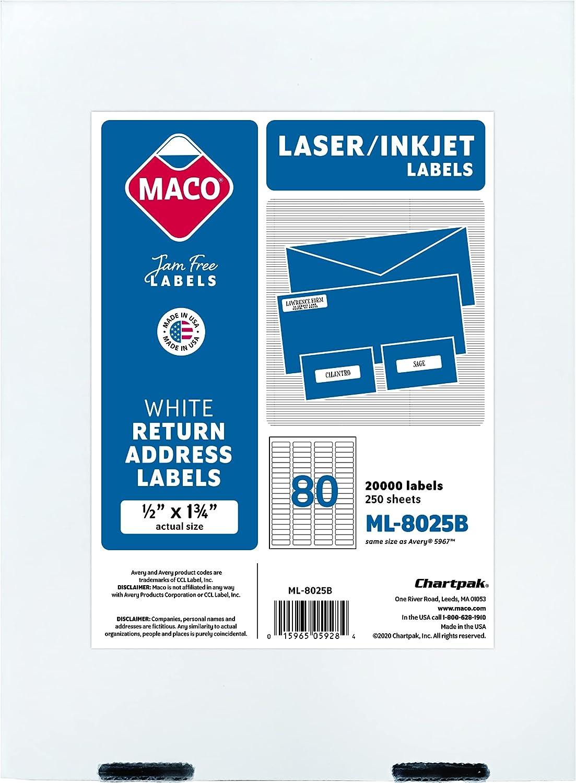MACO Laser trust Ink Over item handling ☆ Jet White Return Address 1 4 2 Labels x 1-3 Inch