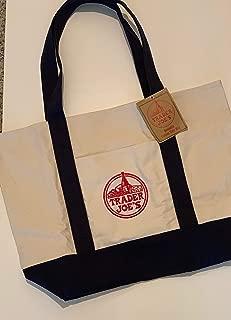 Large Trader Joe's Shopping Bag Tote Beach Bag Book Bag Cotton Canvas Embroided