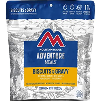 Mountain House Biscuits & Gravy | Freeze Dried Backpacking & Camping Food |2 Servings