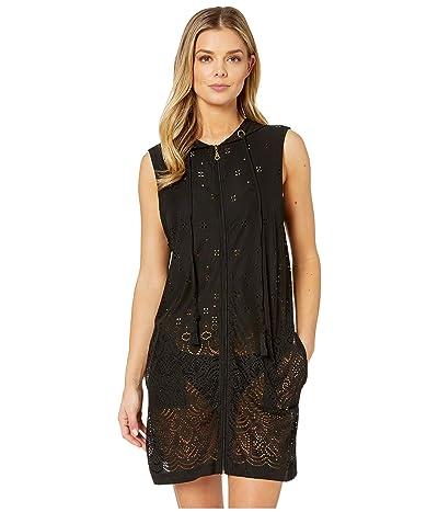 DOTTI Gypsy Gem Zip Front Hoodie Dress Cover-Up (Black) Women