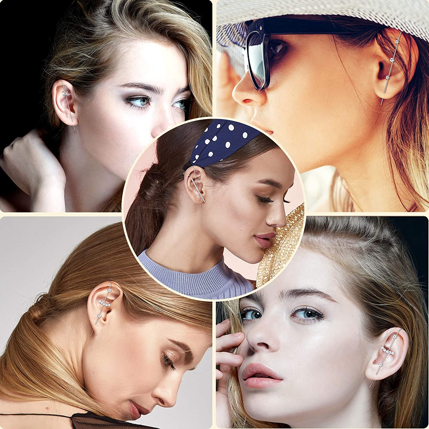 8 Pieces Ear Cuff Wrap Crawler Hook Earrings with Box Cubic Zirconia Ear Crawler Simple Cuff Earrings for Women Girls Chirstmas Birthday Valentines Day